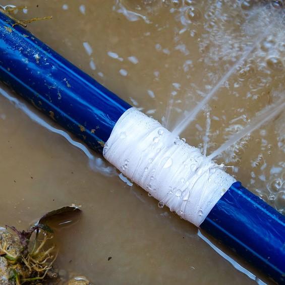 poor repair on a leaking pipe
