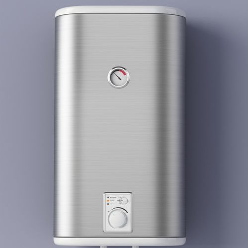 Home electric water heater hanging on a purple wall.
