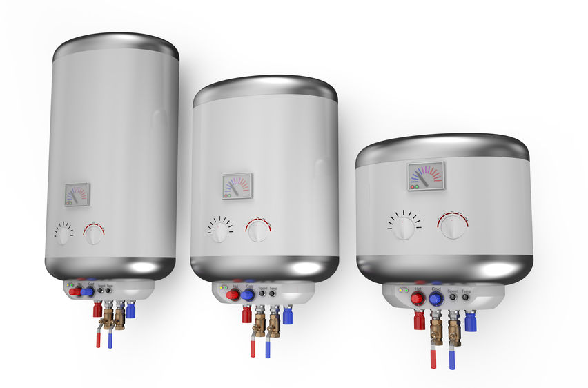 Three varying gallon sizing options for electric water heaters from large to smallest, left to right.