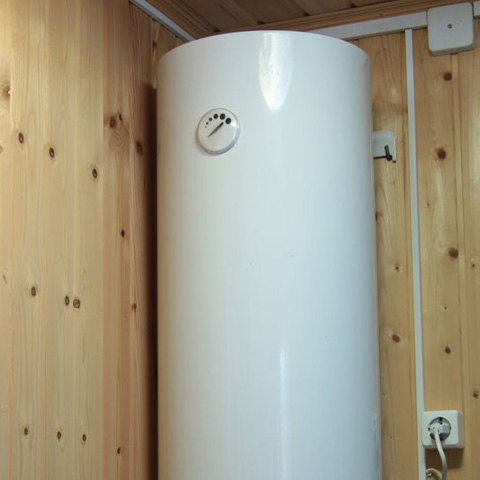 water heater along a bamboo wall